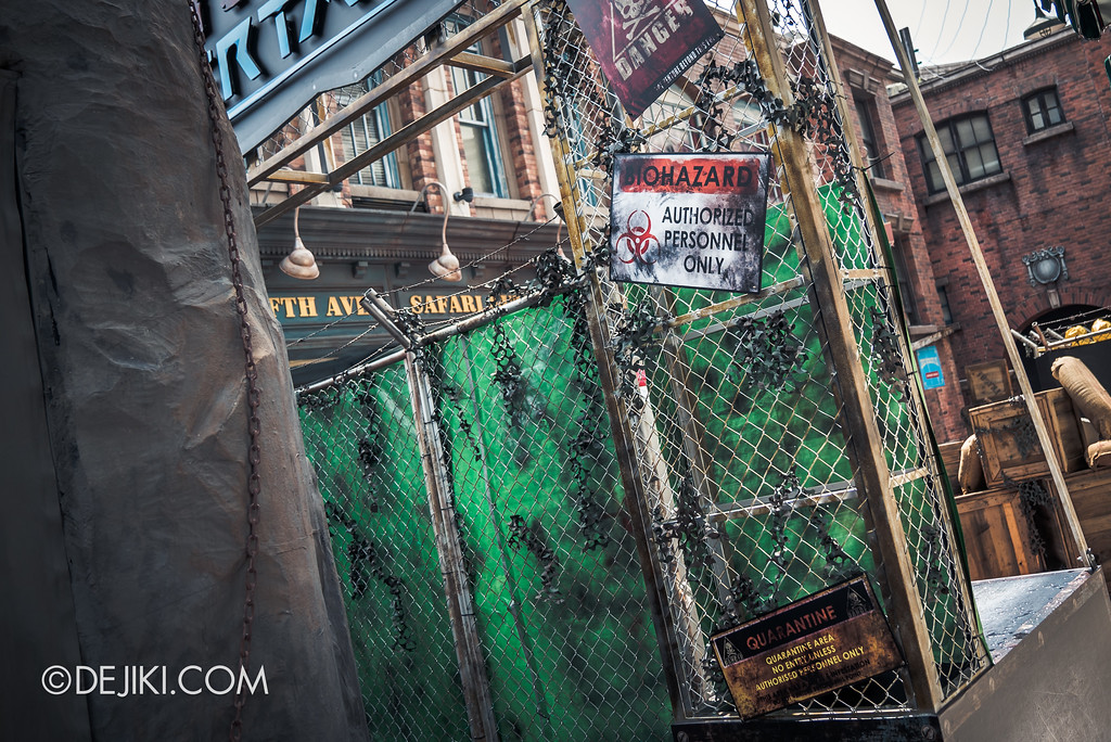 Halloween Horror Nights 7 Preview Construction Update Before Dark 4 - ZOMBIE LASER TAG entrance / Mistake sign removed