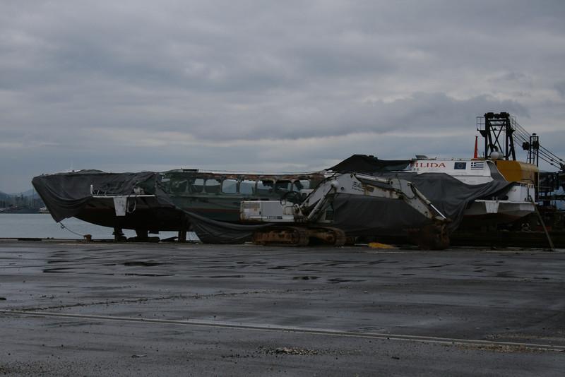 2010 - The burned wreck of hydrofoil ILIDA in Corfu.