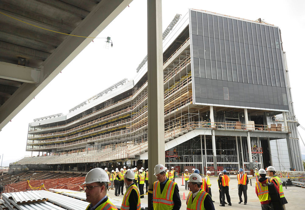 Description of . Construction continues on a luxury suite section at Santa Clara Stadium, the future home of the NFL's San Francisco 49'ers, in Santa Clara, California  March 6, 2013. The stadium is scheduled to open in time for the 2014 NFL season.  REUTERS/Noah Berger
