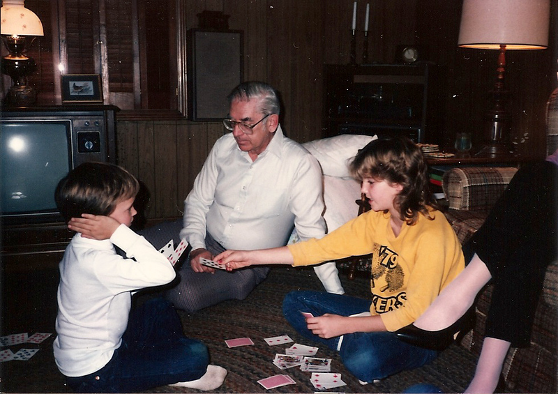 Edward III & Colleen with Grandpa Cerne - Thanksgiving '84