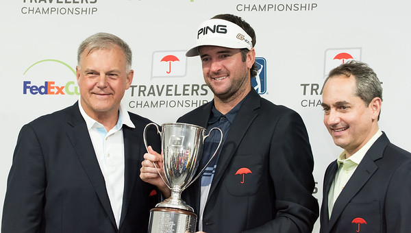 06/24/18 Wesley Bunnell   Staff The final day of The Travelers Championship at TPC River Highlands in Cromwell on Sunday June 24. Tournament Champion Bubba Watson finished with a -17. Executive Vice President and Chief Administrative Officer for Travelers Andy Bessette, L, Bubba Watson and Travelers CEO Alan Schnitzer.