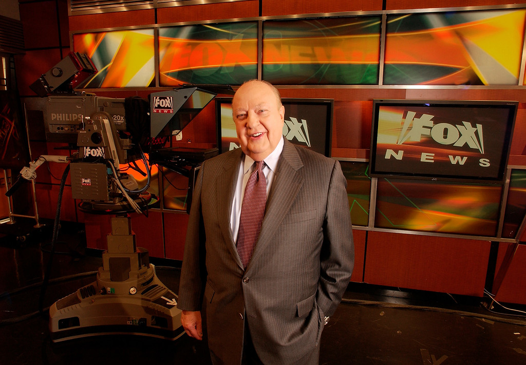 . FILE - In this Sept. 29, 2006 file photo, Fox News CEO Roger Ailes poses at Fox News in New York.  Fox News said on Thursday, May 18, 2017, that Ailes has died. He was 77. (AP Photo/Jim Cooper, file)