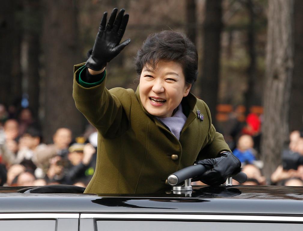 . South Korea\'s new President Park Geun-hye leaves after her inauguration at parliament in Seoul, South Korea, Monday, Feb. 25, 2013. (AP Photo/Kim Hong-Ji, Pool)