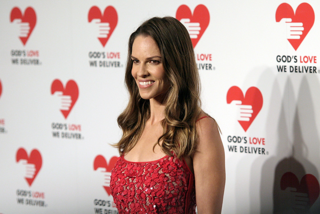 . Actress Hilary Swank attends the 2013 Golden Heart Awards Gala on Wednesday, Oct. 16, 2013, in New York. (Photo by Andy Kropa/Invision/AP)