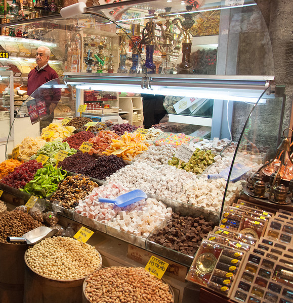 The Spice Bazaar in historic Istanbul, Turkey.
