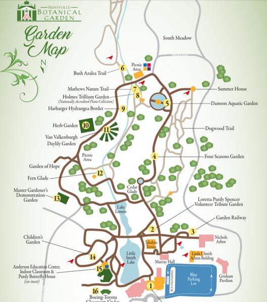 huntsville botanical garden map