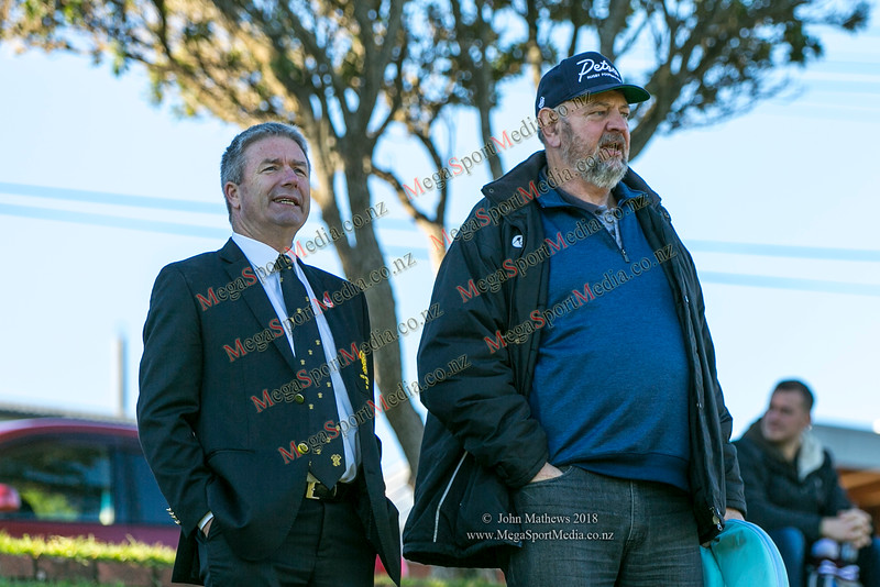 Murray Blandford with Petone supporter at the Wellington Premier reserve rugby union match (Harper Lock Shield) between Old Boys University RFC (white) and Petone RFC (blue) at Nairnville Park, Wellington, New Zealand on 2 June 2018.    SCORE : Petone 17; OBU 24 Copyright John Mathews 2018 http://www.megasportmedia.co.nz