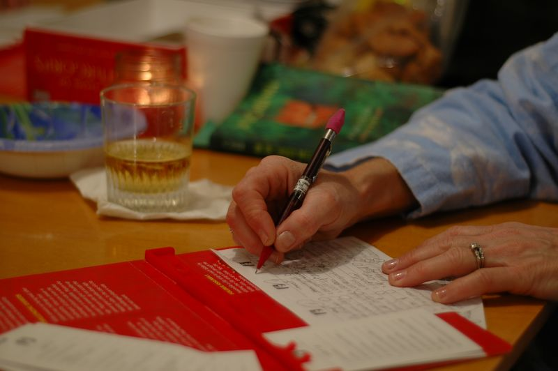 Mom playing Scattergories.