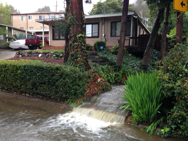 . Rainwater flows through a yard at Mountain Boulevard and Carson Street in Oakland on Thursday. (Kristopher Skinner/Bay Area News Group)