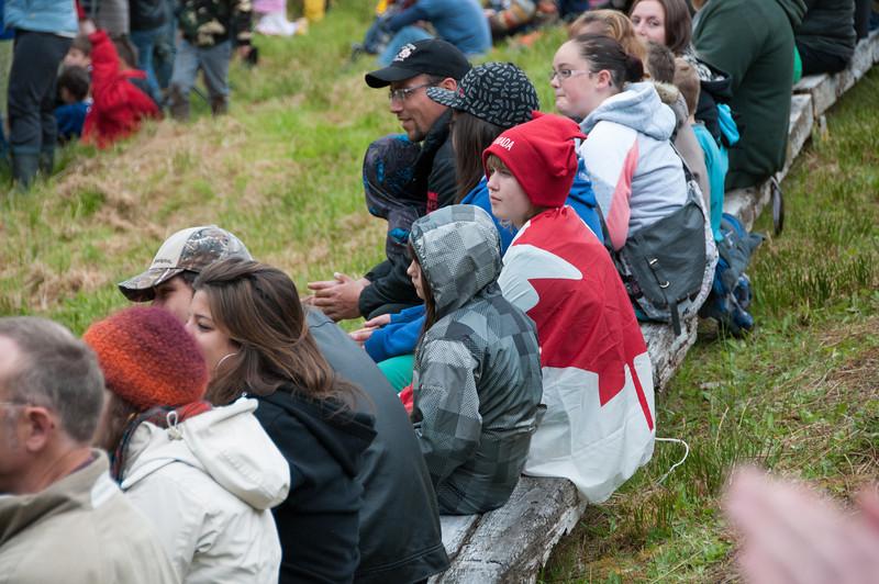 Spectators at the mud-bog races in Port Clements, Haida Gwaii, British Columbia