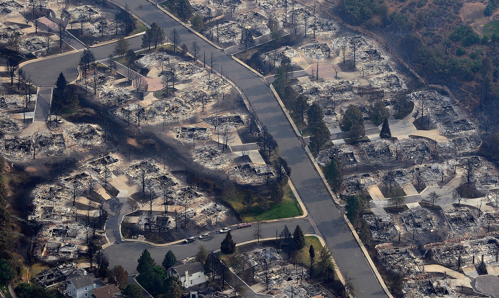 . An aerial photo of the burned homes left in the path of the Waldo Canyon fire as it moved through the Mountain Shadows subdivision in Colorado Springs. RJ Sangosti, The Denver Post