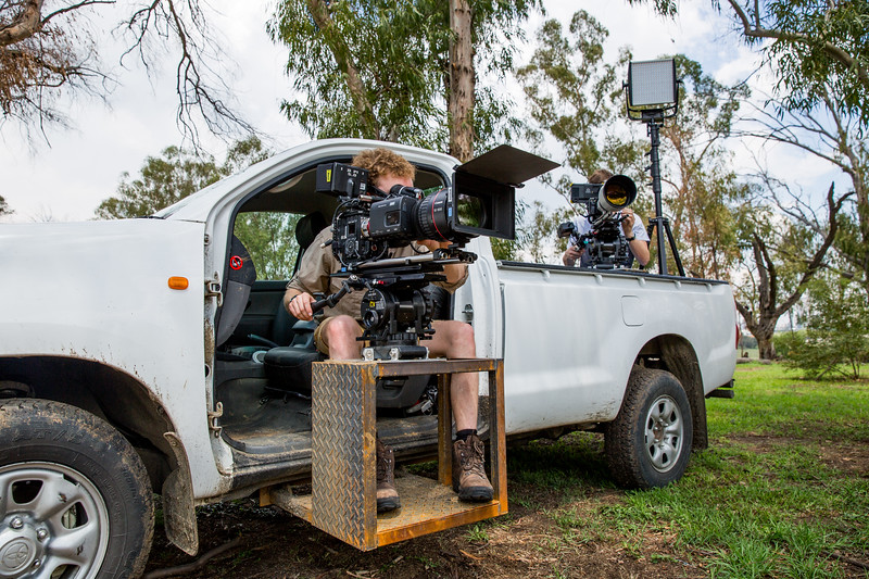 To film servals at night the team modified an offroad vehicle. They removed the doors, welded a camera platform to the side and mounted two night vision cameras.