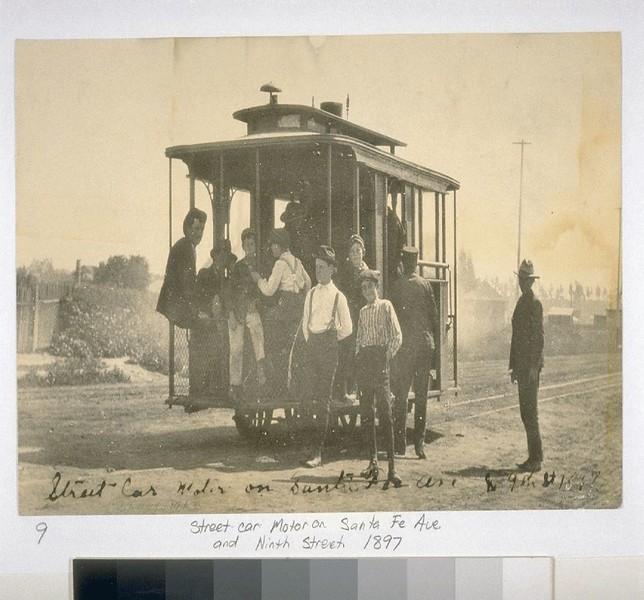 StreetCarMorotorOnSantaFeAv&NinthSt.1897.jpg