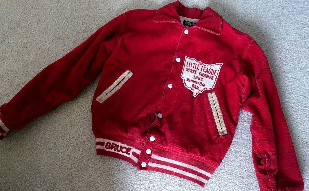 . A red letterman jacket presented to members of the 1963 Painesville American All-Stars by the Painesville VFW after capturing the Little League state title.  (Courtesy Bruce Kephart)
