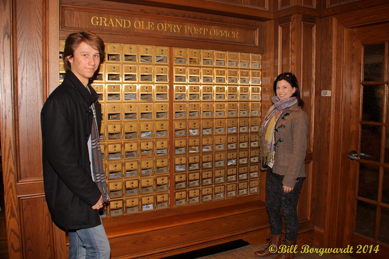 Jesse Mast & Melody Lovejoy by the Opry mailboxes - Opry Backstage tour.