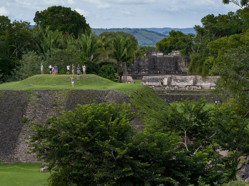 Tourists at Ancient Mayan Archaeological Site, San Jose Succotz, Cayo District, Belize