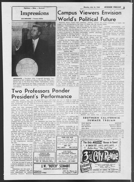 Summer Trojan, Vol. 12, No. 7, July 16, 1962