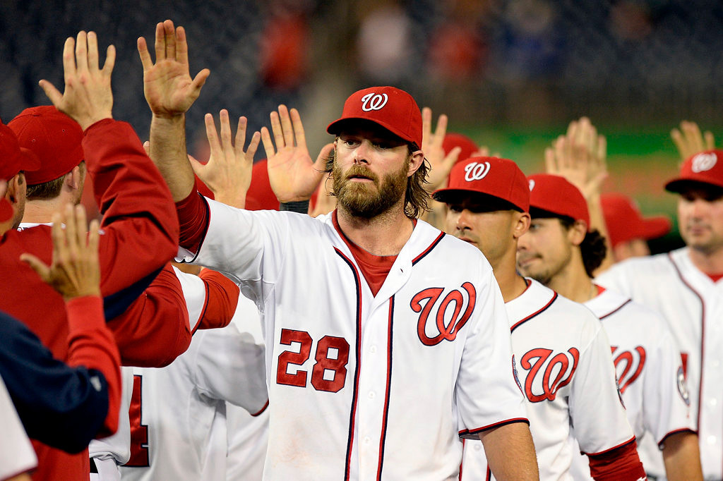 . WASHINGTON, DC - JUNE 09:  Jayson Werth #28 of the Washington Nationals celebrates with his teammates after the Nationals defeated the Minnesota Twins 5-4 during game two of a doubleheader at Nationals Park on June 9, 2013 in Washington, DC.  (Photo by Patrick McDermott/Getty Images)