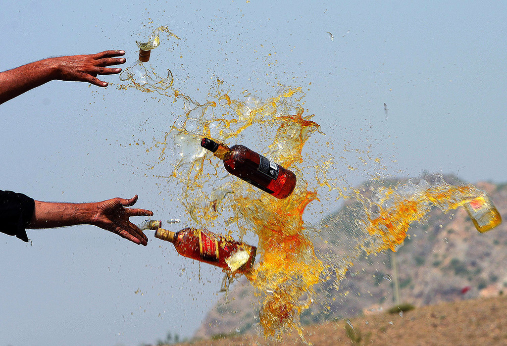 . Pakistani Frontier Corps (FC) personal brake liquor bottles in a ceremony in the Shahkas area of the Jamrud Khyber Agency, one of the Federally Administered Tribal Areas, on June 26, 2013. Officials destroyed the contraband as part of International Anti-drug Day.   A Majeed/AFP/Getty Images