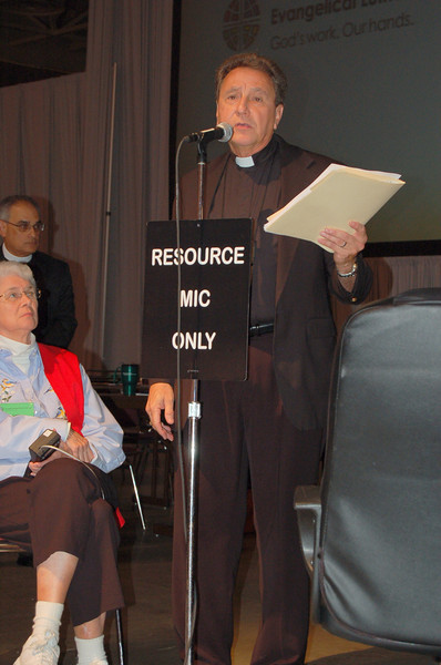 The Rev. Don McCoid, executive, ELCA Ecumenical and Inter-Religious Relations, responds to a voting member's question regarding the response of homosexuality statements from full communion partners.
