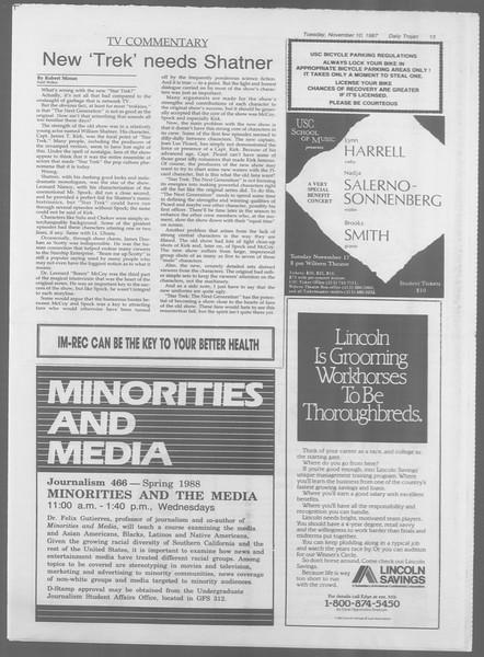 Daily Trojan, Vol. 105, No. 48, November 10, 1987