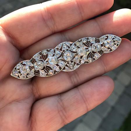 4.40ctw Edwardian Diamond Brooch