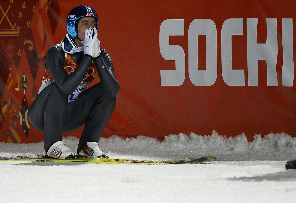. Norway\'s Anders Bardal reacts as he wins bronze in the Men\'s Ski Jumping Normal Hill Individual Final Round at the RusSki Gorki Jumping Center during the Sochi Winter Olympics on February 9, 2014 in Rosa Khutor. PIERRE-PHILIPPE MARCOU/AFP/Getty Images
