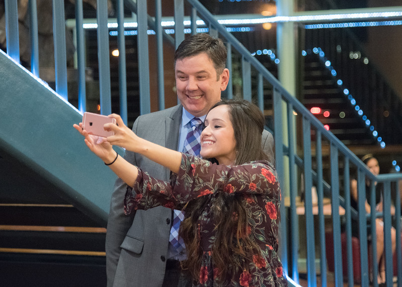 Inductees Calvin Hennegar and Jasmine Robledo take a selfie before the ceremony.