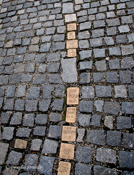 Donated cobblestones on a walk in Cesky Krumlov