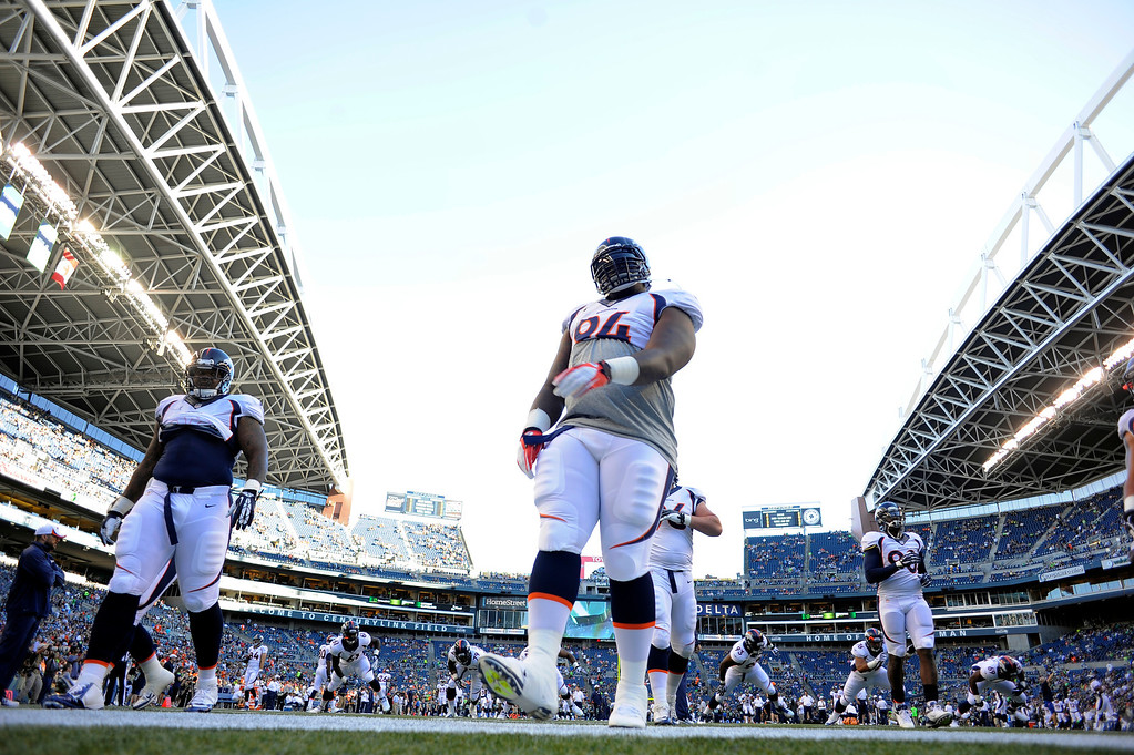 . SEATTLE, WA. - AUGUST 17: Denver Broncos defensive tackle Terrance Knighton (94) warms up before their game against the Seattle Seahawks August 17, 2013 at Century Link Field. (Photo By John Leyba/The Denver Post)