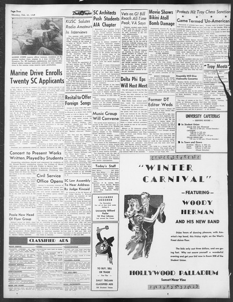 Daily Trojan, Vol. 39, No. 84, February 23, 1948