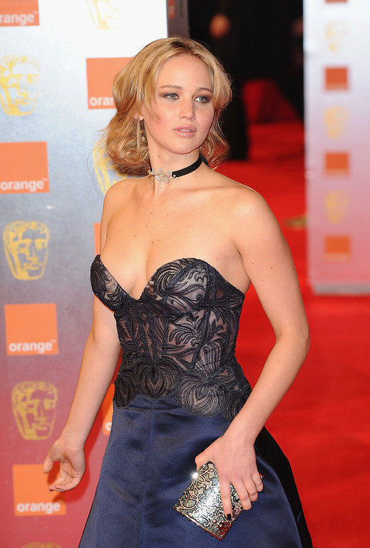 . Actress Jennifer Lawrence arrives for the Orange British Academy Film Awards at The Royal Opera House on February 13, 2011 in London, England.  (Photo by Ian Gavan/Getty Images)