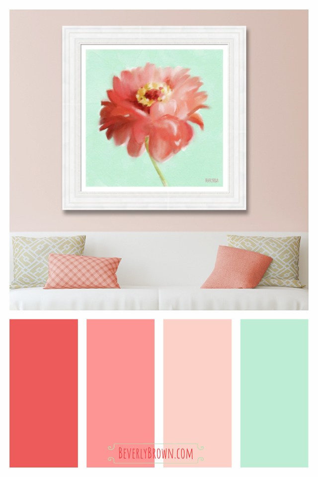 Coral, Mint Green & Peach Cottage Shabby Chic Living Room Color Scheme