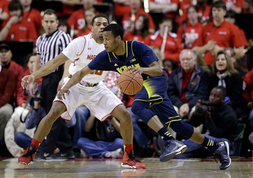 . Michigan guard Muhammad-Ali Abdur-Rahkman drives around Maryland guard Richaud Pack in the second half of an NCAA college basketball game, Saturday, Feb. 28, 2015, in College Park, Md. (AP Photo/Patrick Semansky)