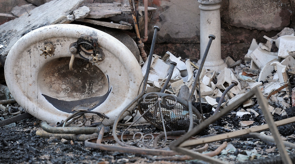 . A burned out sink during the Colby Fire, a 1,700-acre plus brush fire that ignited in the Angeles National Forest north of Glendora  threatening homes and prompting mandatory evacuations in Glendora, Calif., on Thursday, Jan. 16, 2014. (Keith Birmingham Pasadena Star-News)