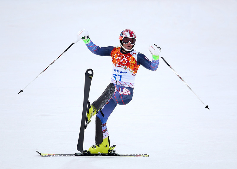 . Nolan Kasper of the United States after completing his first run during the Men\'s Slalom during day 15 of the Sochi 2014 Winter Olympics at Rosa Khutor Alpine Center on February 22, 2014 in Sochi, Russia.  (Photo by Clive Rose/Getty Images)