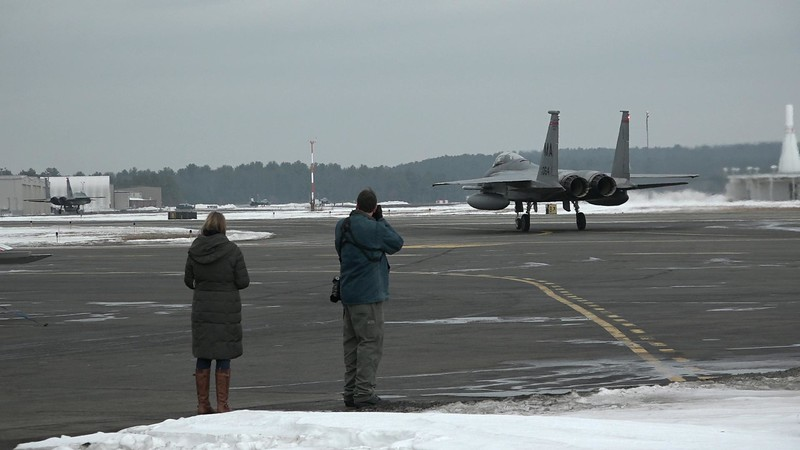 1-11-18...F-15s and helicopters with Bob Gerard and his daughter...dark, cloudy day