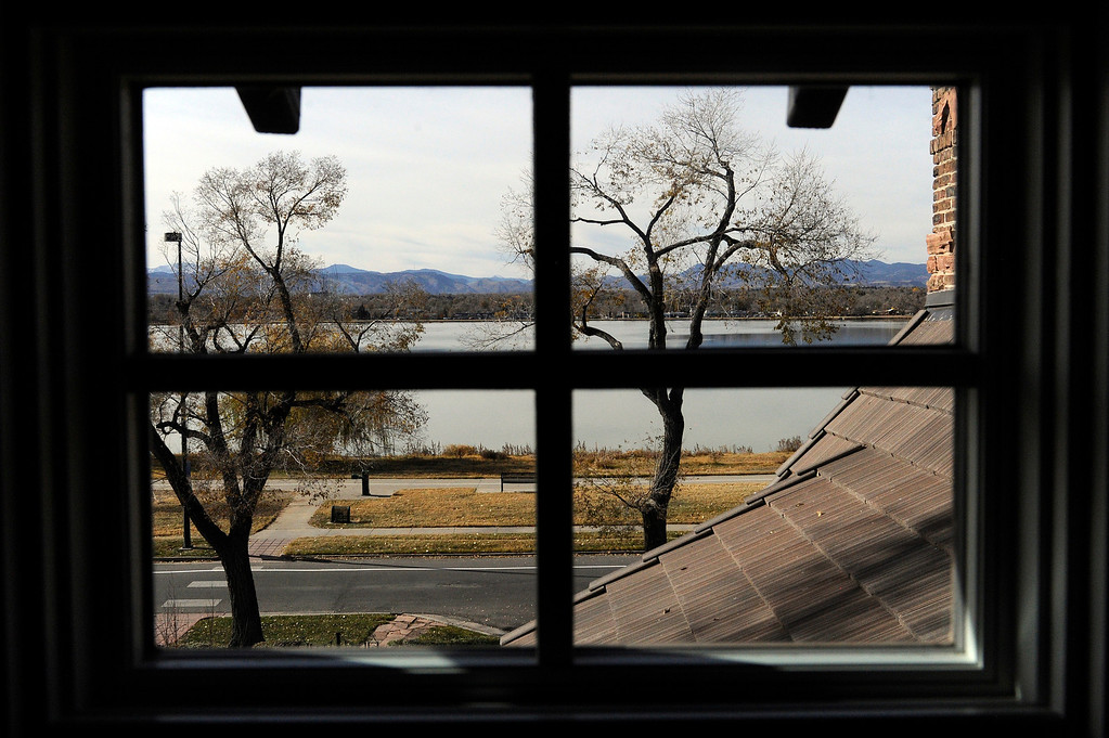 . DENVER, CO - NOVEMBER 13: The view of Sloan\'s Lake from an upstairs window of the Spicer residence on November 13, 2013, in Denver, Colorado. Jeannine Spicer wanted to open up the previously dark interior of her childhood home by installing more windows and providing many views of the lake and the mountain range. (Photo by Anya Semenoff/YourHub)