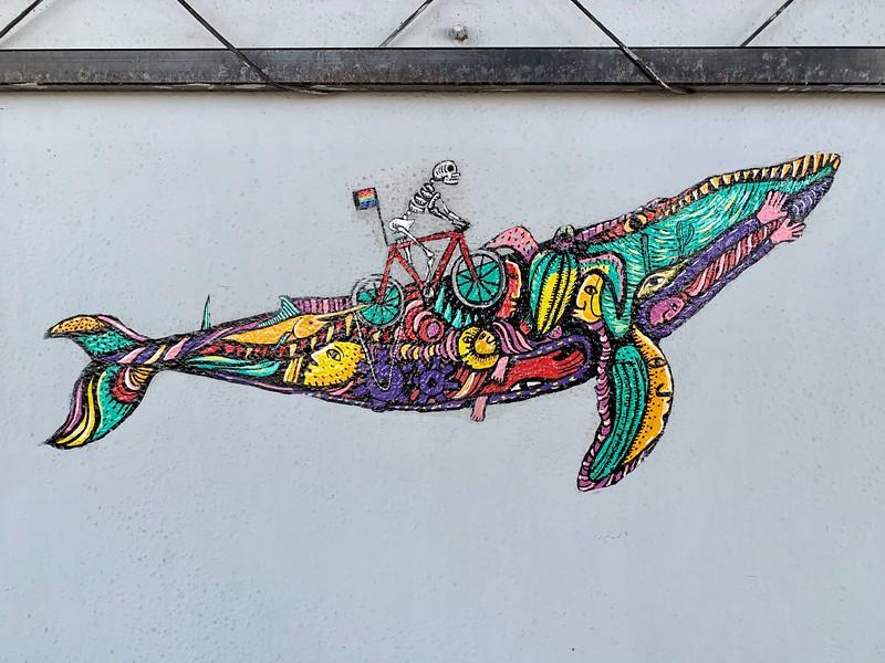 Whale street art in La Paz Mexico