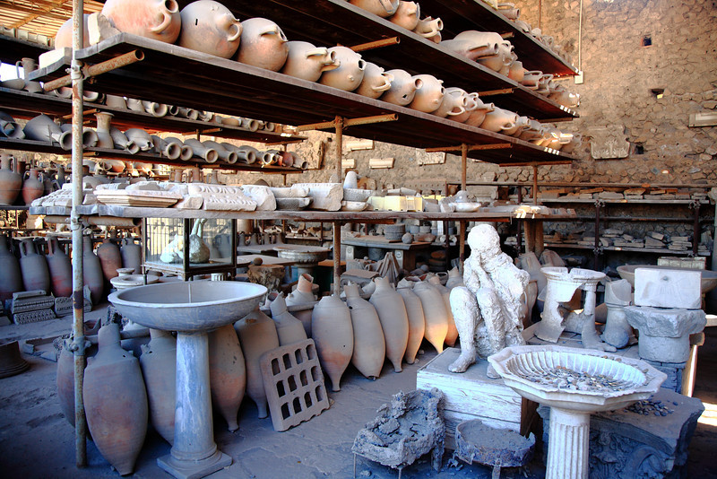 A warehouse full of items they found when excavating Pompeii.