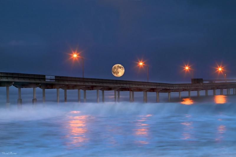 Moonset Over Ocean Beach Pier