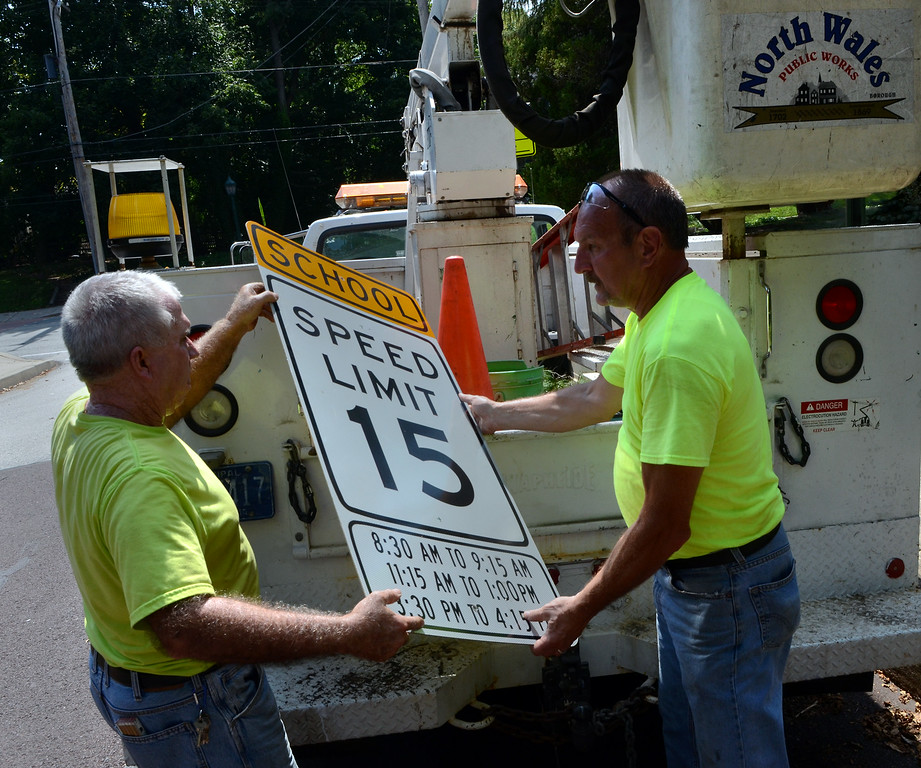 . North Wales Public Works employees Joe Rouse ,L, and George Keriick change the traffic signs along Summit Ave near North Wales Elementary School on Wednesday afternon August 27,2014. Photo by Mark C Psoras/The Reporter