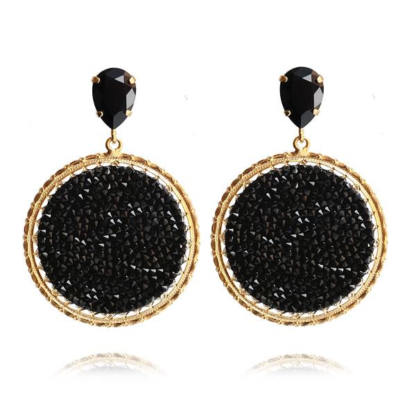 Alexandra Crystal Rocks Earrings / Jet / Gold