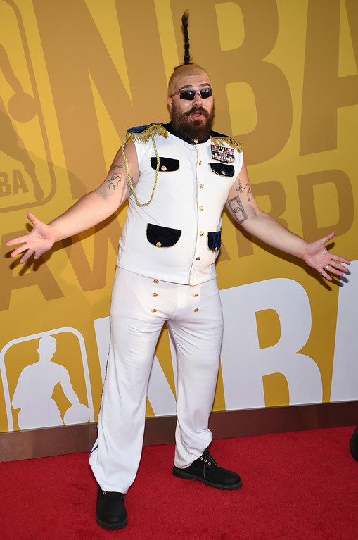 . Josh Ostrovsky, also known as The Fat Jew, arrives at the NBA Awards at Basketball City at Pier 36 on Monday, June 26, 2017, in New York. (Photo by Evan Agostini/Invision/AP)