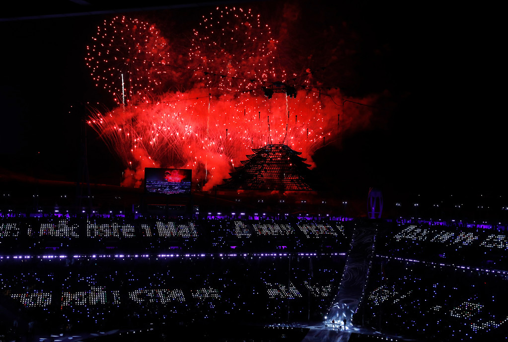 . Fireworks explode during the closing ceremony of the 2018 Winter Olympics in Pyeongchang, South Korea, Sunday, Feb. 25, 2018. (AP Photo/Charlie Riedel)