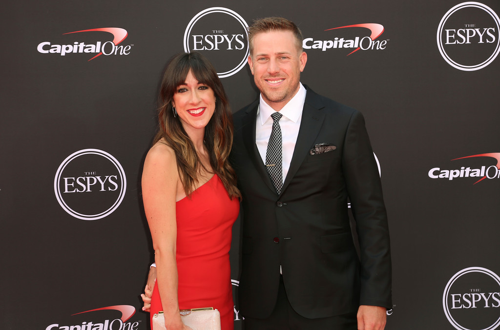 . Denver Broncos\' Case Keenum, right, and Kimberly Caddell arrive at the ESPY Awards at Microsoft Theater on Wednesday, July 18, 2018, in Los Angeles. (Photo by Willy Sanjuan/Invision/AP)