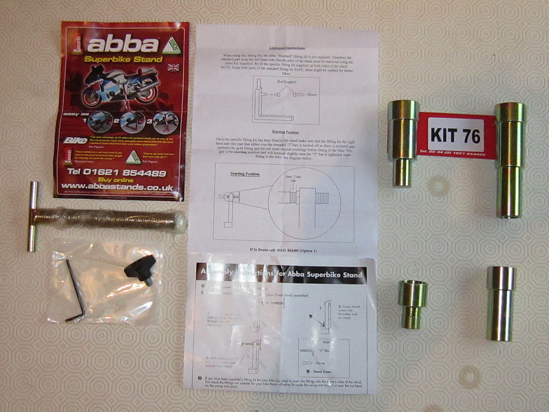 1/6: Abba Motorcycle Stand (better alternative to paddock stands!;-) fitting kit for the Multistrada 1200 - the locating lugs top right replace the standard items bottom right.