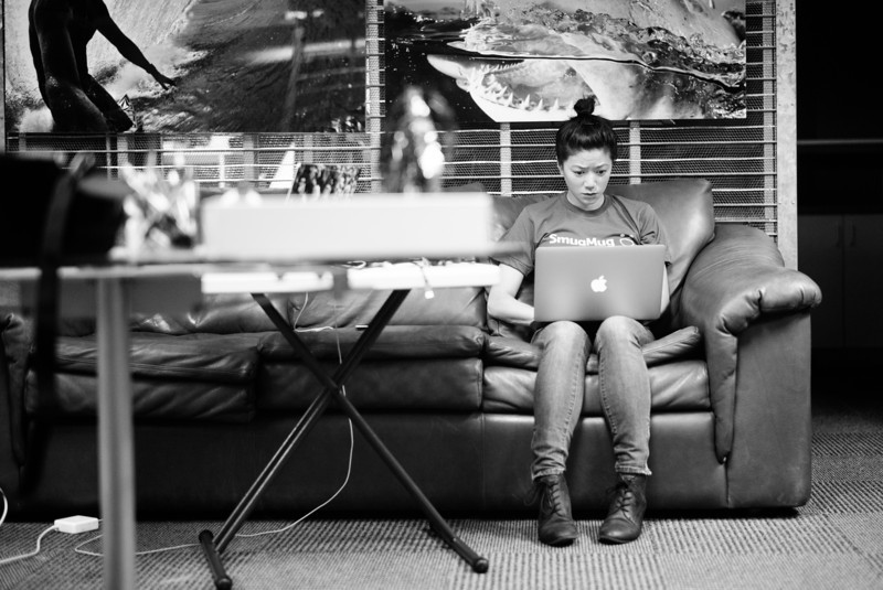 2 hours till launch event. Katherine watching SmugMug NeXT internet coverage.