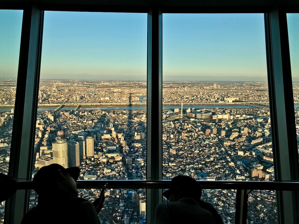 The Skytree casting a shadow on buildings below.