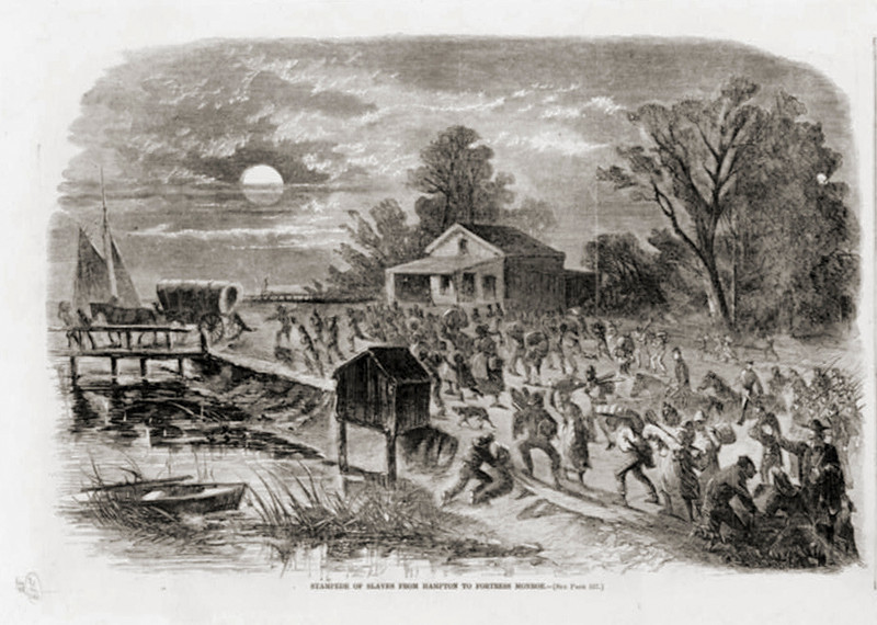 . Stampede of slaves from Hampton to Fortress Monroe.1861.  Library of Congress